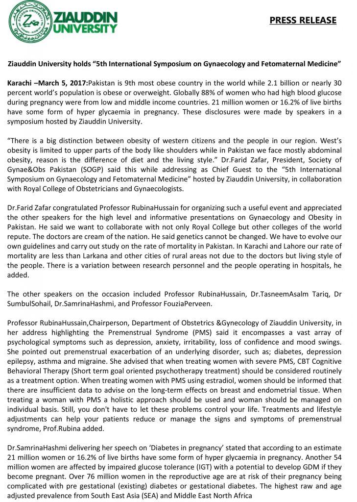 5th International Symposium of Gynecology and Fetomaternal